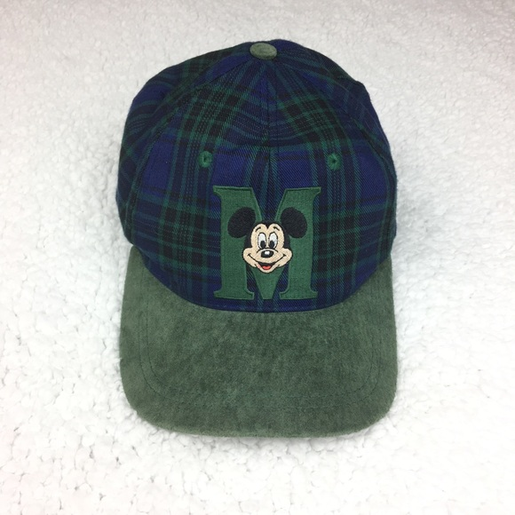 7dd77d76f8e Disney Accessories - Vintage Disney Mickey Mouse Green Plaid Suede Hat